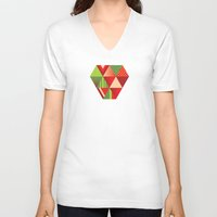 strawberry V-neck T-shirts featuring strawberry by Gray