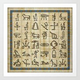 Ancient Egyptian Hieroglyphs on Papyrus Art Print