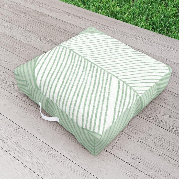 Minimal Tropical Leaves Pastel Green Outdoor Floor Cushion