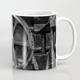 Trivial Pursuits Steam Train Detail Abstract Vintage Railroad Photography Black and White Coffee Mug