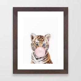 Bubble Gum Tiger Cub Framed Art Print