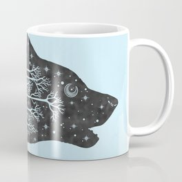 Adventure Wolf - Nature Mountains Wolves Howling Design Black on Turquoise Blue Coffee Mug