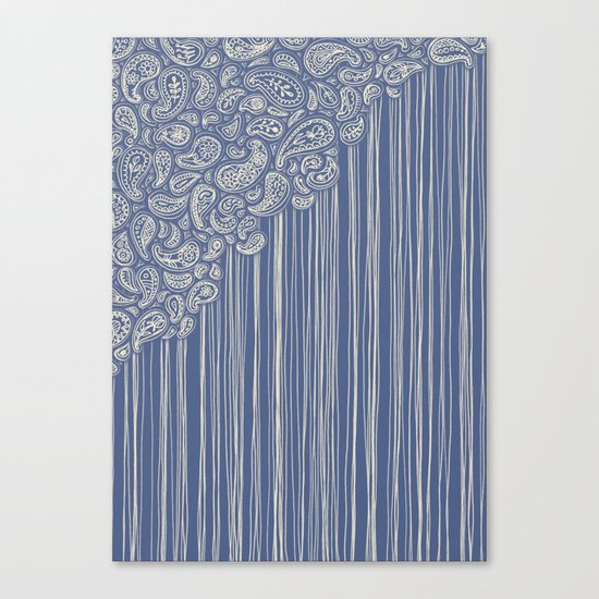 The Unraveling of Paisley Lace (in blue and cream) Canvas Print