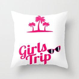"A Great German Beer Tee Saying ""Malle Girls Trip"" T-shirt Design Palm Trees Beach Sunglasses Woman Throw Pillow"