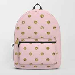 Pink & Gold Glitter Polka Dots Backpack