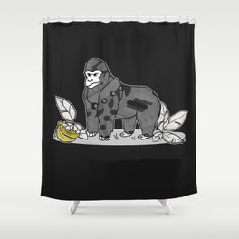Gorilla & Bananas,Funny Wild Animal Graphic,Black & White with Brass Gold Metallic Accent Cartoon Shower Curtain