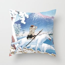 Mononoke and the wolves vintage japanese mashup Throw Pillow