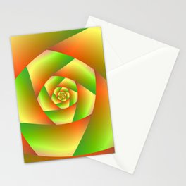 Spiral in Yellow Orange and Green Stationery Cards