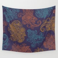 mercedes Wall Tapestries featuring Fall Paisley Pattern by Mercedes