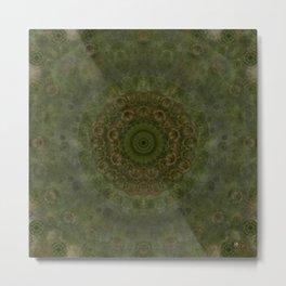 """Autumn mandala"" (Green-Grey Pattern) Metal Print"