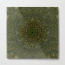 """Autumn mandala"" (Green-Grey Pattern) Metal Print"
