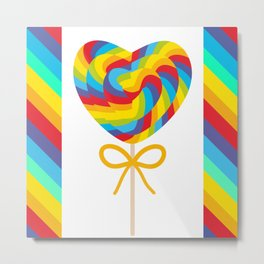Valentine's Day Heart shaped candy lollipops with bow, colorful spiral candy cane with rainbow Metal Print