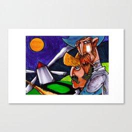 Quijote y Sancho Panza en la noche 2013 Canvas Print