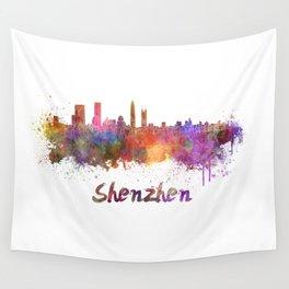 Shenzhen skyline in watercolor Wall Tapestry