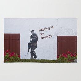 A Gentleman goes walking; Camino to Santiago de Compostela Rug