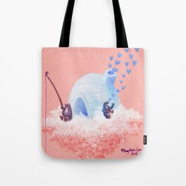 Penguins Fishing and Making Music on Their Floating Island Igloo Home Tote Bag
