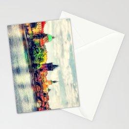 Prague panorama watercolor Stationery Cards