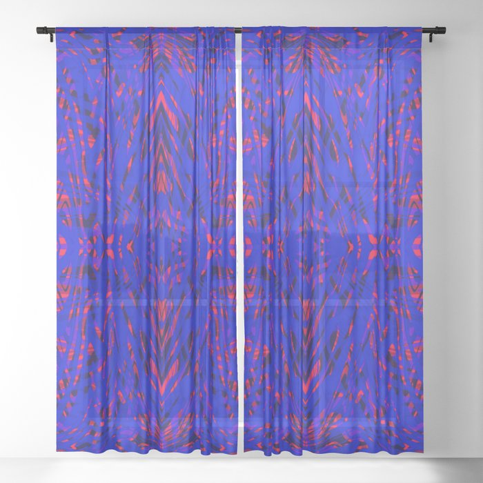 blue on red symmetry Sheer Curtain