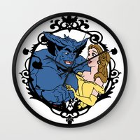 beauty and the beast Wall Clocks featuring Beauty and Beast by Don Calamari