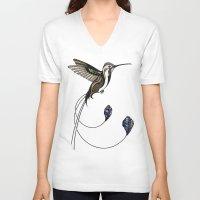 hummingbird V-neck T-shirts featuring Hummingbird by Andreas Preis