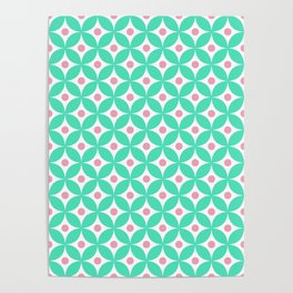 Menthol green, candy pink and white elegant tile ornament pattern Poster