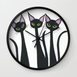 Whimsical Halloween Black Cats Wall Clock