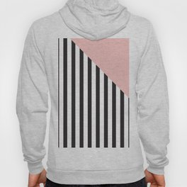 vertical stripes pattern in black with the corner in soft pink Hoody