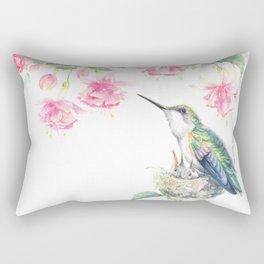 Guardian - watercolor hummingbird with nest Rectangular Pillow