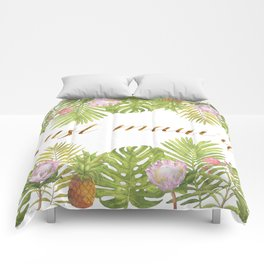 Just Maui'd - Tropical Leaves & Flowers / Gold Script / Pink, Green, White Comforters