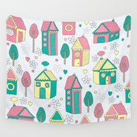 home sweet home Wall Tapestries featuring Home by One April