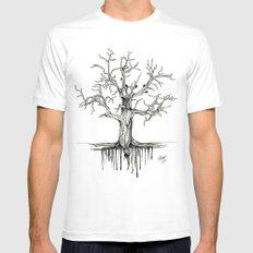 Winter Tree White MEDIUM Mens Fitted Tee