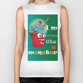 Hungry monster cupcake Biker Tank