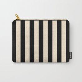 Elegant Stripes - Black & Beige Carry-All Pouch