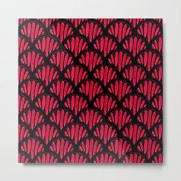 Beautiful Pink Black Scalloped Pattern Metal Print