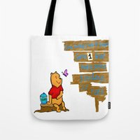 winnie the pooh Tote Bags featuring Winnie The Pooh by LaLunaBee