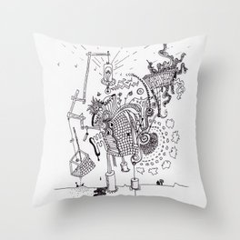 Walking Home Contraption Throw Pillow