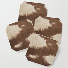 Cowhide Brown and White Coaster