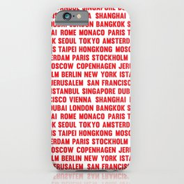 Famous City pattern Red & White iPhone Case