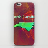 north carolina iPhone & iPod Skins featuring North Carolina Map by Roger Wedegis