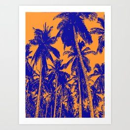 Palm Trees Design in Blue and Orange Art Print