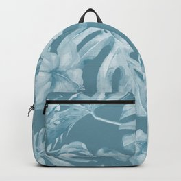 Tropical Escape Teal Blue Leaves + Hibiscus Backpack