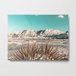 Vintage Mojave Mountains // Snowcapped Desert Landscape Cactus Plant Perspective Photograph Metal Print
