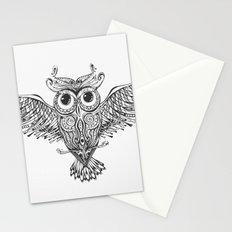 Owl Trace B&W Stationery Cards