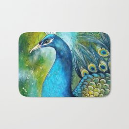 """A Peacock in its Natural Environment"" Bath Mat"