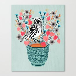 Tea and Flowers - Black and White Warbler by Andrea Lauren Canvas Print