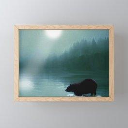 Stepping Into The Moonlight - Black Bear and Moonlit Lake Framed Mini Art Print