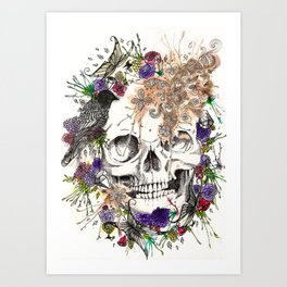 A dreamy collaboration: Skull and Flowers Art Print