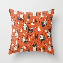 Cemetery Cuties (Orange) Throw Pillow