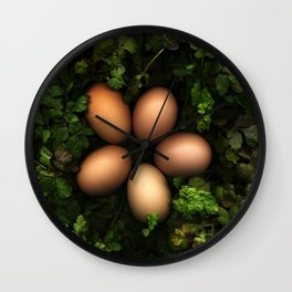 Eggs in a Green Nest Wall Clock
