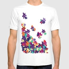 Flowered Up White Mens Fitted Tee MEDIUM